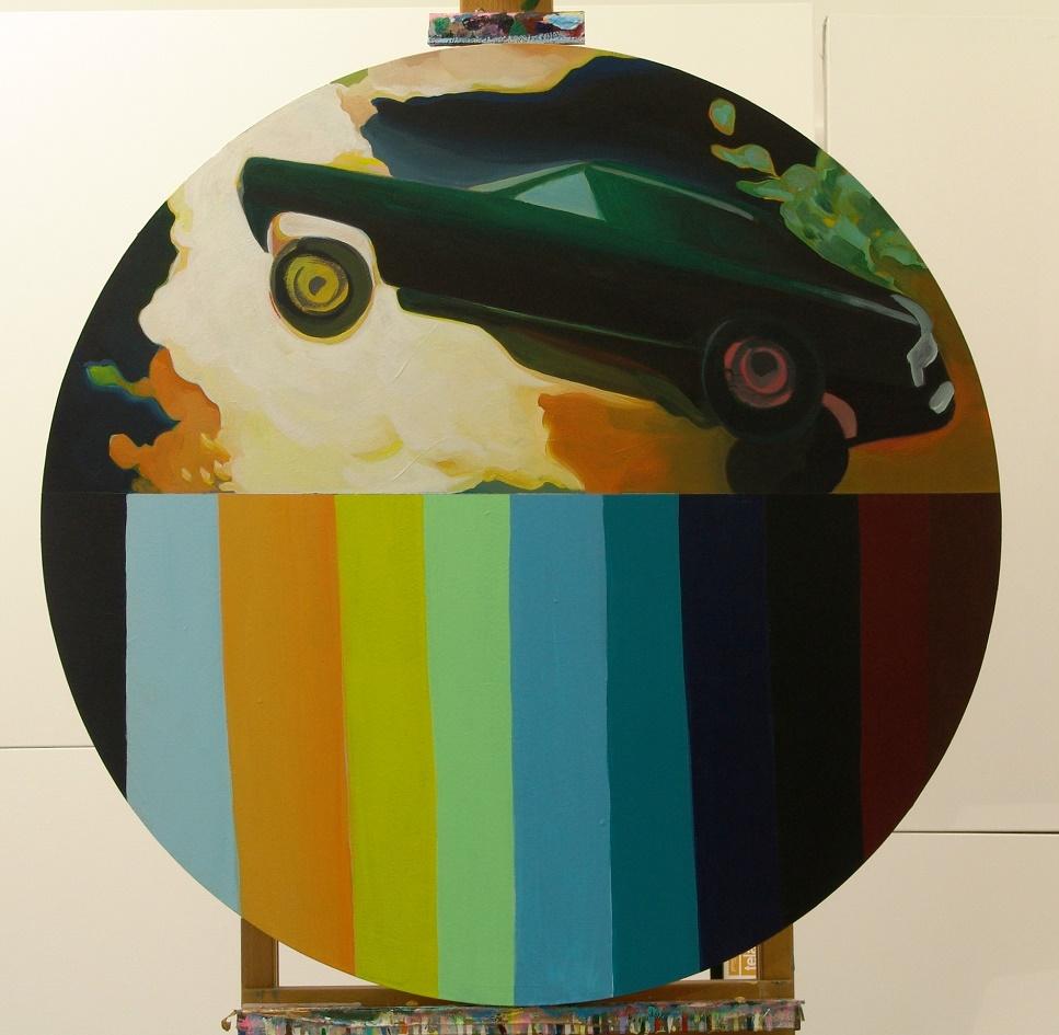 SALTO DE CASTANHO A AZUL,2013, diametro 80cm, acrilico tela1
